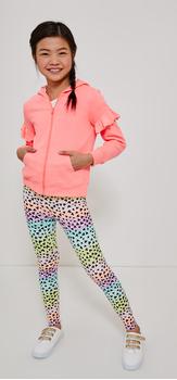 Ruffle Sleeve Hoodie Rainbow Legging Outfit