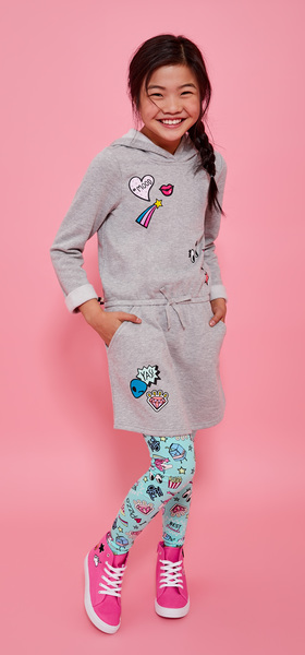 26c42bfd63 Emoji Sweatshirt Dress Legging Outfit - FabKids