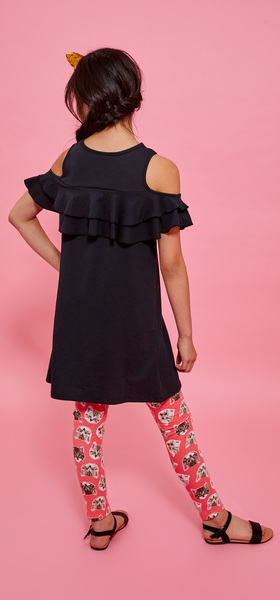 Ruffle Cold Shoulder Cat Legging Dress Outfit