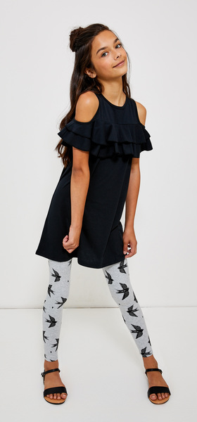Ruffle Cold Shoulder Bird Legging Dress Outfit