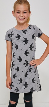 Bird T-Shirt Dress Split Knee Legging Outfit