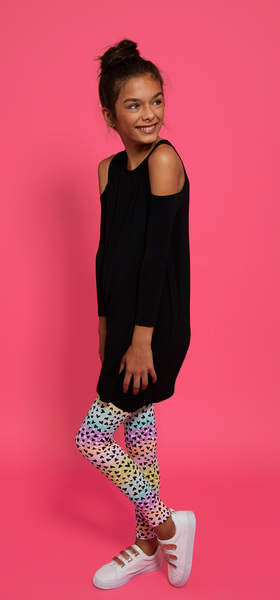 Cold Shoulder Drapey Dress Legging Outfit