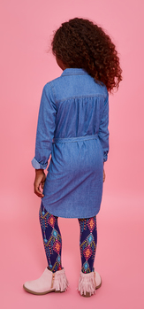 Chambray Tie Waist Tribal Legging Dress Outfit