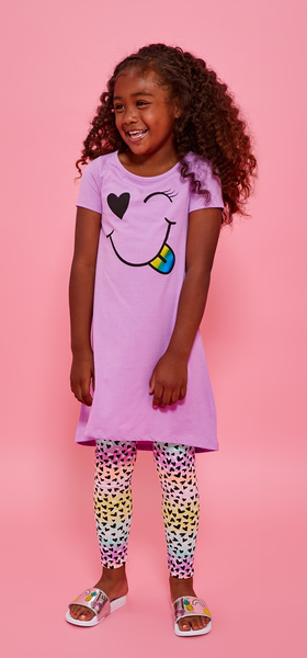 Smiley Face Rainbow Legging Dress Outfit