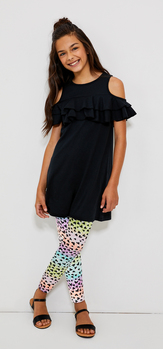 Ruffle Cold Shoulder Heart Legging Dress Outfit