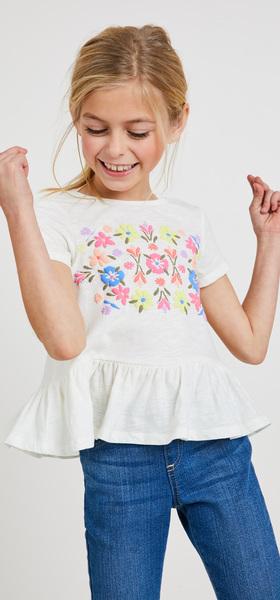 Floral Peplum Denim Outfit