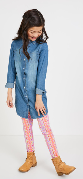 Chambray Pink Geo Dress Outfit