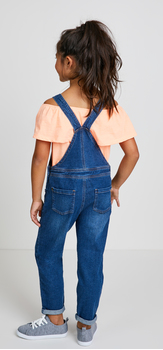 Peach Ruffle Overalls Outfit