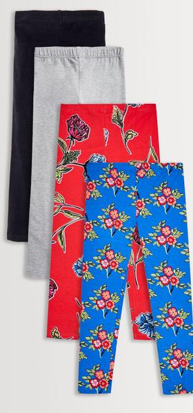 Red & Blue Floral Legging 4-Pack