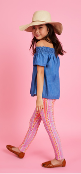 Chambray Pink Geo Hat Outfit