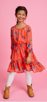 Red Floral Ruffle Dress Outfit