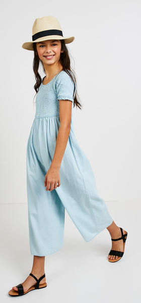 Smocked Chambray Jumpsuit Outfit