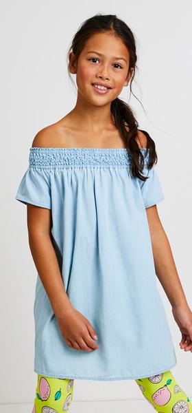 Chambray Lemon Print Dress Outfit