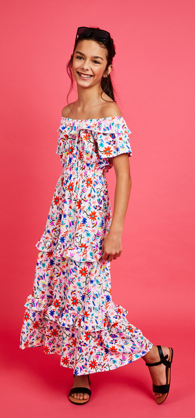 Floral Ruffle Maxi Dress Outfit