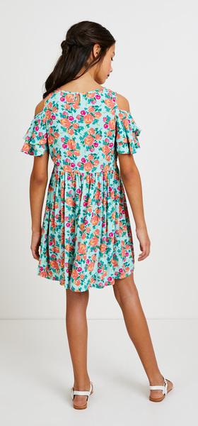 Floral Cold Shoulder Dress Outfit