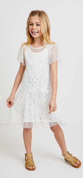 Gold Dot Overlay Dress Outfit
