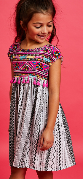 Printed Tassel Dress Outfit