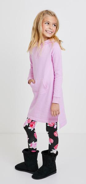 9bdd001b28 Pink Floral Sweatshirt Dress Outfit - FabKids