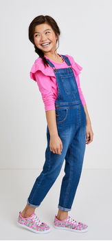 Pink Ruffle Overalls Outfit