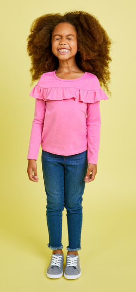 Pink Ruffle Denim Outfit