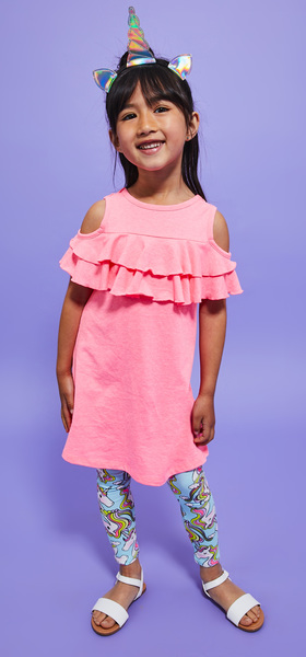 Ruffle Cold Shoulder Legging & Headband Dress Outfit