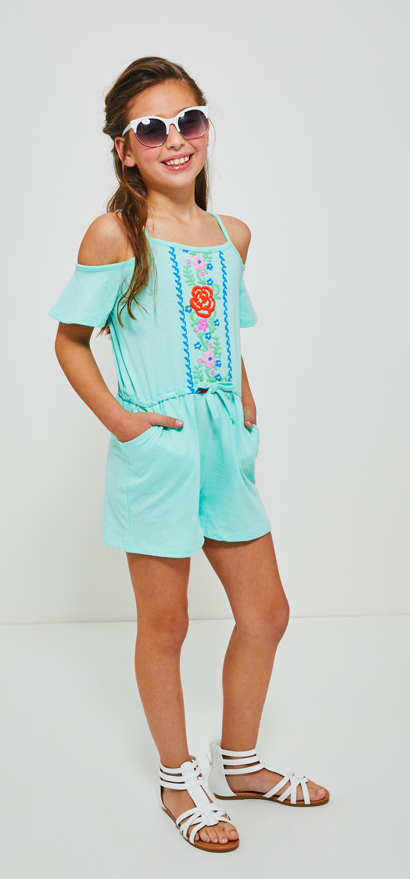 87d85401bb8 Cold Shoulder Floral Print Romper Sunglasses Outfit - FabKids