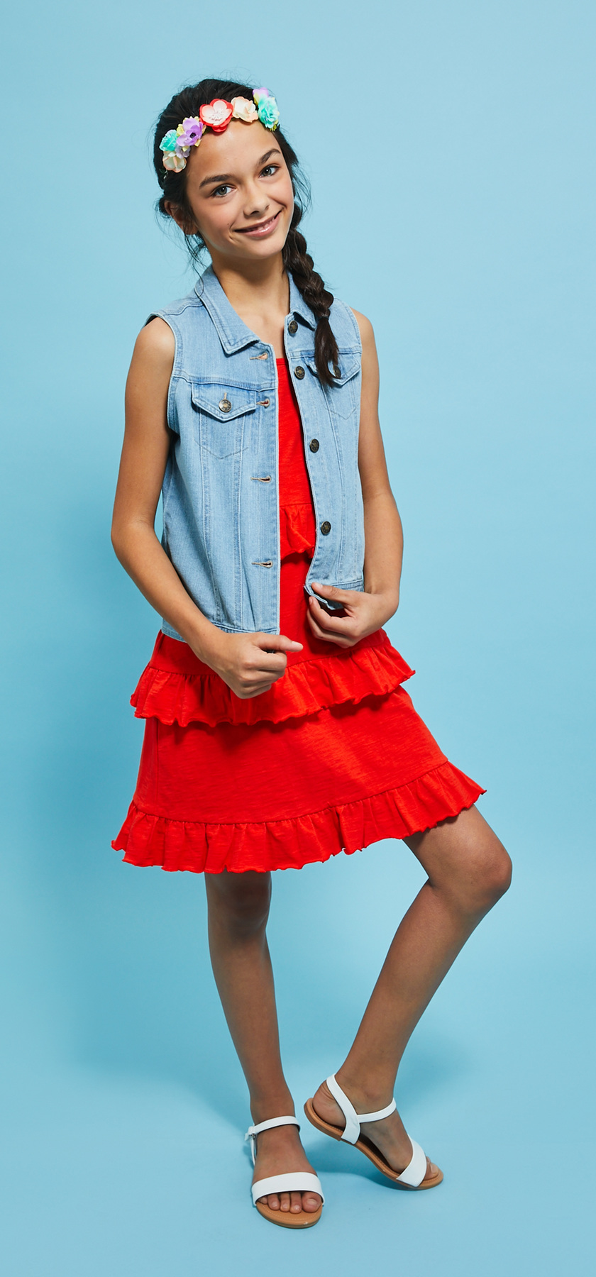 3c5ddc6f517 Tiered Ruffle Tank Vest   Flower Crown Dress Outfit - FabKids
