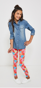 Chambray Havana Floral Print Legging Outfit