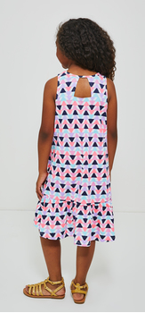 Triangle Print Hi-Low Tank Dress Sunglasses Outfit