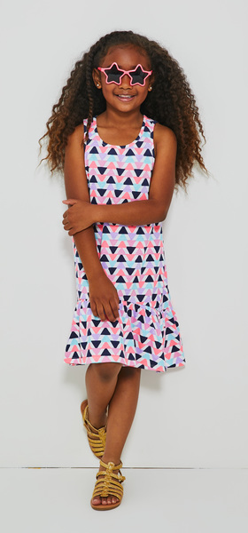 Triangle Print Hi-Low Tank Dress Sunglasses Outfit