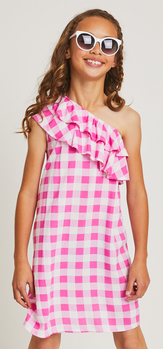 One Shoulder Ruffle Checkered Sunglasses Dress Outfit