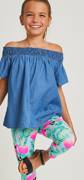 Chambray Flamingo Print Outfit