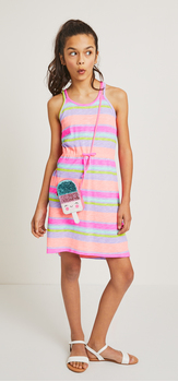 Striped Knot Back Dress Purse Outfit