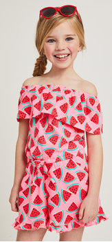 Watermelon Off The Shoulder Ruffle Romper Sunglasses Outfit