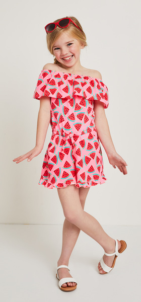 6c427c081f0 Watermelon Off The Shoulder Ruffle Romper Sunglasses Outfit - FabKids