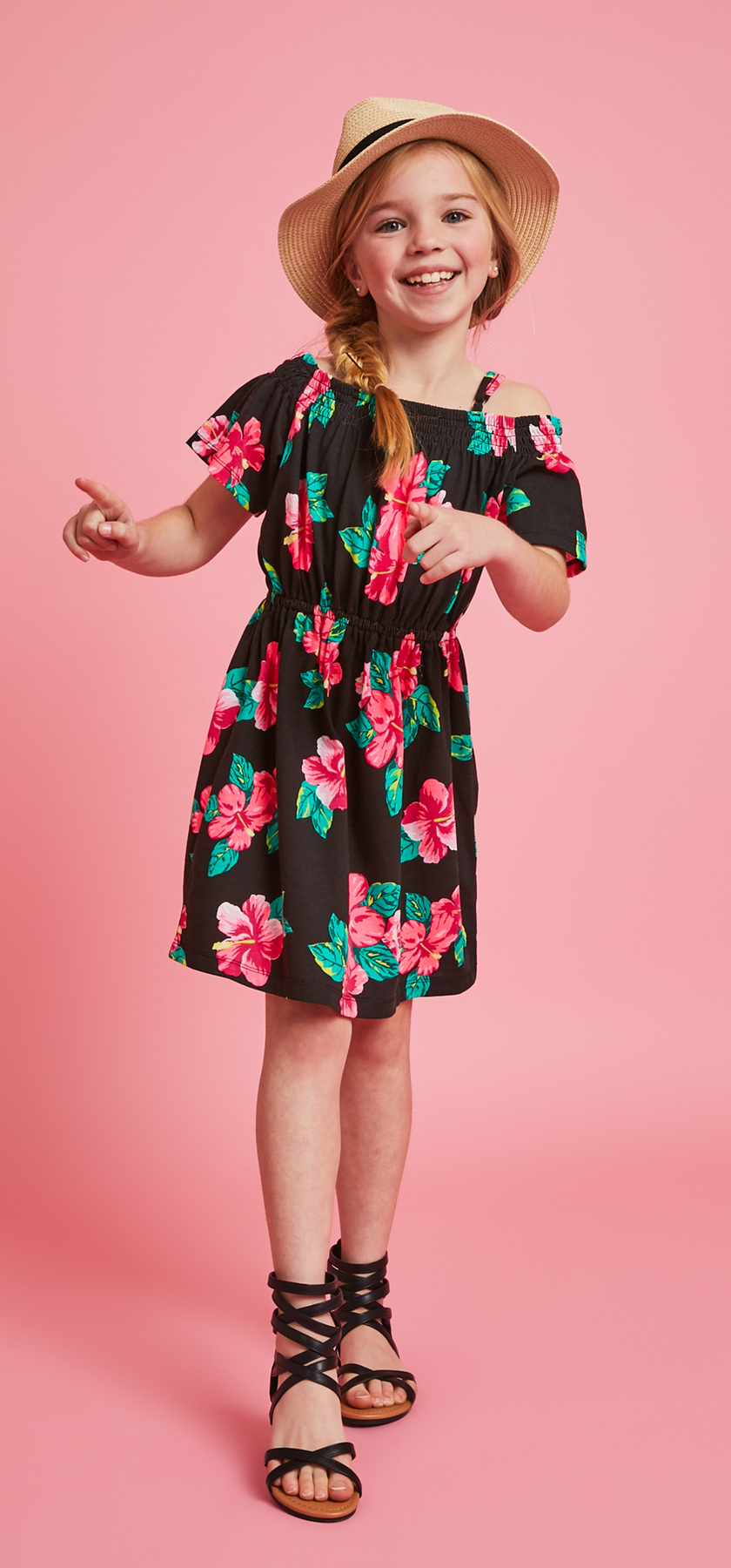 Cold shoulder hibiscus print dress hat outfit fabkids fabkidss standard terms of service regarding shipping returns and exchanges apply terms subject to change at any time without notice izmirmasajfo