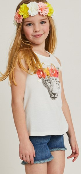 Leopard Flower Crown Tank Short Outfit