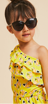 One Shoulder Leopard Print Romper Sunglasses Outfit