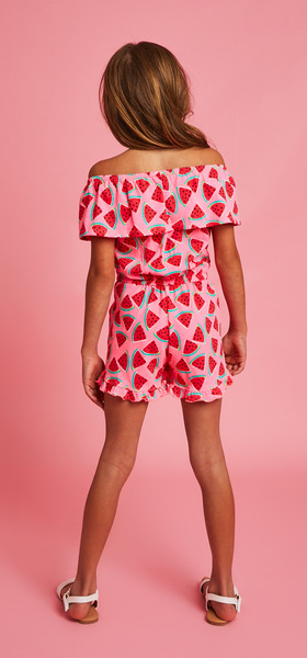 Watermelon Off The Shoulder Ruffle Romper Outfit