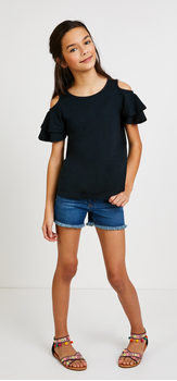 The Cold Shoulder Ruffle Denim Outfit