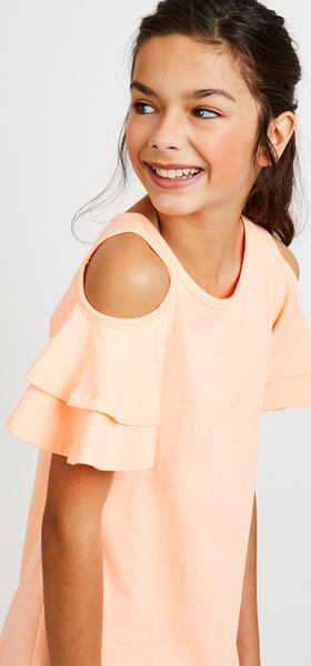 Ruffle Cold Shoulder Dress Outfit