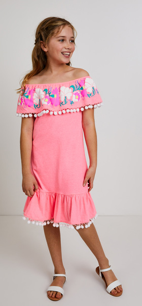 Embroidered Ruffle Dress Outfit