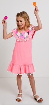 Pom Pom Embroidered Dress Outfit