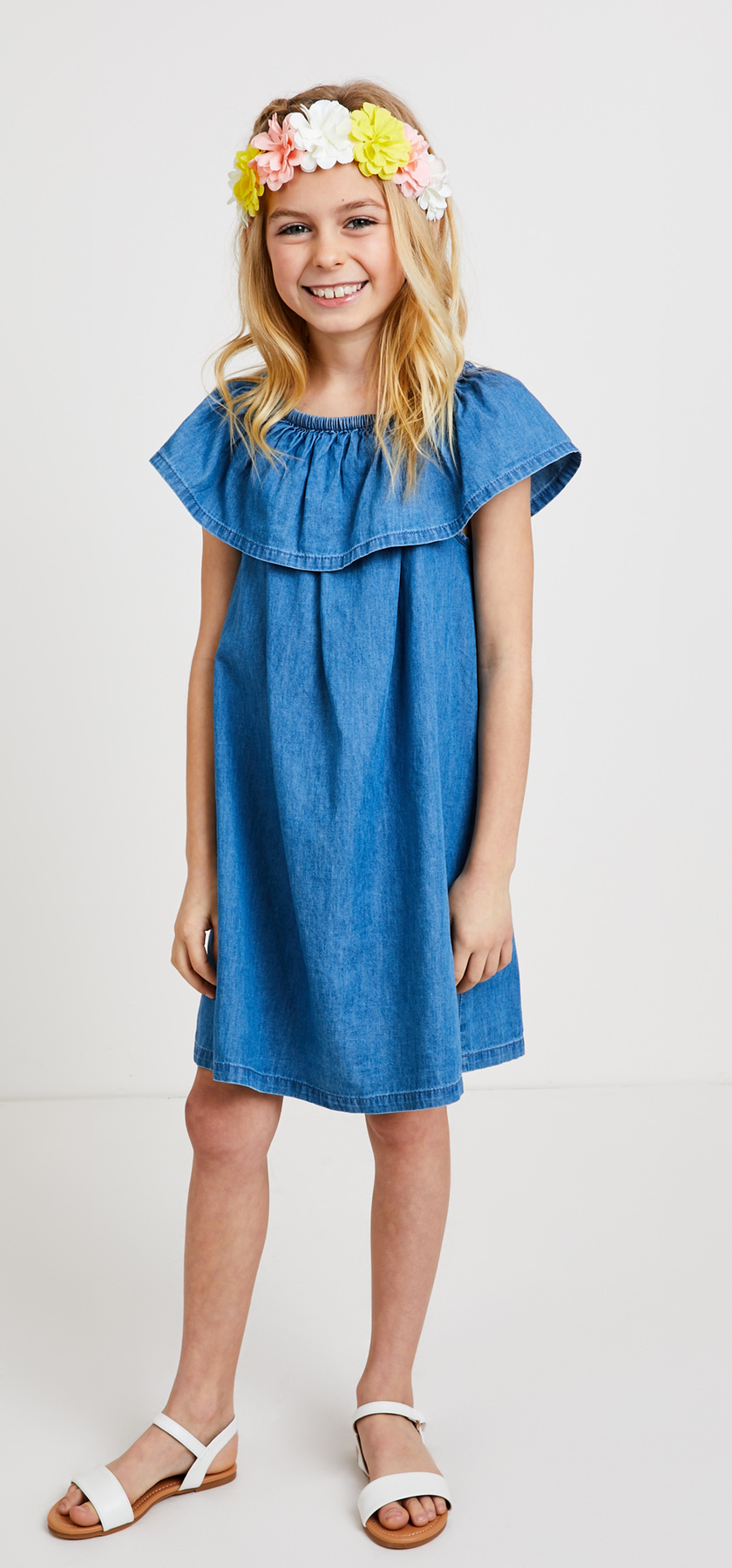 Chambray Flower Crown Dress Outfit Fabkids