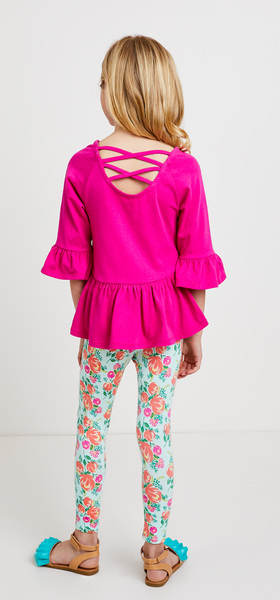 Ruffle Hem Floral Outfit