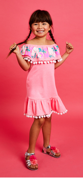 Embroidered Pom Pom Dress Outfit