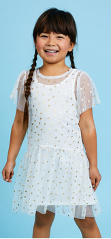 Dot Tulle Overlay Dress Outfit