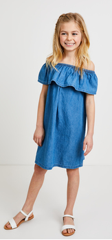 Chambray Ruffle Dress Outfit