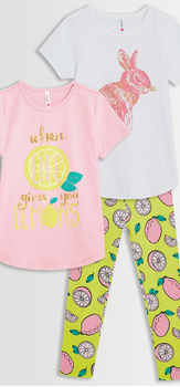 Lemon Bunny Tee & Legging 3-Pack