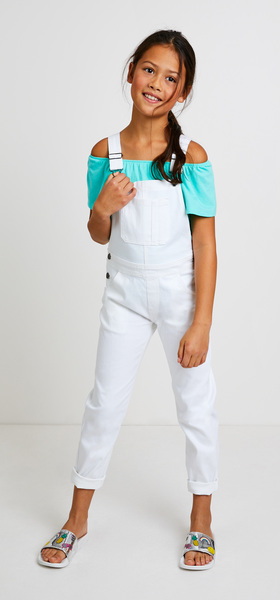 Ruffle Denim Overalls Outfit